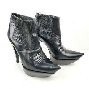 BALENCIAGA Point Toe Black Leather Heel Booties